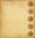 Beige background decorated with snowflakes paper golden Royalty Free Stock Photo