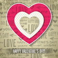 Beige background with red valentine heart and wis wishes text vector illustration Stock Photo