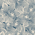 Beige and blue orchid seamless pattern Royalty Free Stock Photo