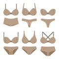 Beige bras and panties