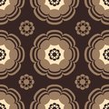 Beige and brown flowers seamless pattern Stock Photo