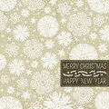 Beige christmas background with snowflakes and lab label for text vector illustration Royalty Free Stock Photo