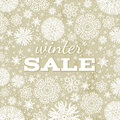 Beige christmas background with snowflakes and off offer for sale vector illustration Royalty Free Stock Image
