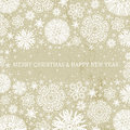 Beige christmas background with snowflakes, vecto
