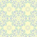 Beige colored floral seamless pattern. Background with light blue and green flower elements