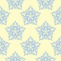 Beige colored floral seamless pattern. Background with light blue and green flower elements Royalty Free Stock Photo