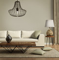 Beige contemporary modern sofa with green cushions