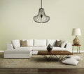Beige contemporary modern sofa with lamp Royalty Free Stock Photo