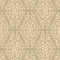 Beige Damask Pattern Stock Photo