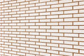 Beige fine brick wall texture background perspective, large detailed horizontal textured pattern