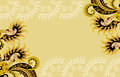 Beige frame paisley pattern white lace inserting Stock Images