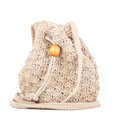 Beige knitted handbag Royalty Free Stock Image