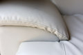 Beige leather couch sofa furniture Royalty Free Stock Photo