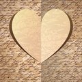 Beige paper heart with handwrite pattern Stock Photo