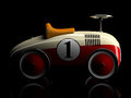 Beige-red retro toy car number one isolated on black background Royalty Free Stock Photo
