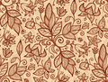 Beige vector flowers seamless pattern Royalty Free Stock Image