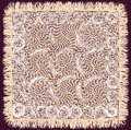Beige weave lacy square serviette with fringe isolated on purple background Royalty Free Stock Photos