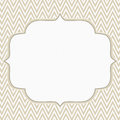 Beige and white chevron zigzag frame background with center for copy space classic Stock Photography