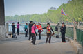 Beihai park beijing local chinese people dancing in in china Royalty Free Stock Images