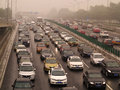 Beijing air pollution and traffic view of jam Royalty Free Stock Photos