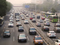 Beijing air pollution and traffic view of jam Royalty Free Stock Photography