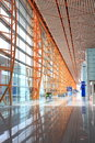 Beijing capital airport t terminal interior view with modern steel structure Stock Photo