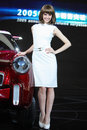 Beijing China April 27,female model in auto show Royalty Free Stock Photo