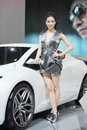 Beijing China April 27,female model in auto show Stock Image