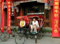 Beijing, China: Pedicab Drivers in Hutong Stock Image