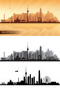 Beijing city skyline detailed silhouettes set vector illustration Royalty Free Stock Photography