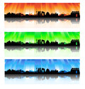 Beijing colorful skyline set city silhouette artwork Royalty Free Stock Photography