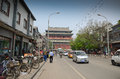 Beijing drum tower busy streets of with the in the background Stock Photos