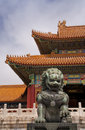 Beijing Forbidden City: lion against the corner of Stock Image