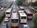 Beijing heavy traffic jam and cars Royalty Free Stock Images