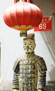 Beijing hutong terracotta warriors and lanterns Royalty Free Stock Images