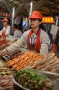 Beijing night snack market a street food in offering sea food Stock Images