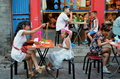 Beijing outdoor restaurant an family in Royalty Free Stock Photos