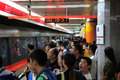 Beijing subway oct people on platform during national day holiday on oct in china s lines carry over Royalty Free Stock Images