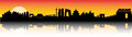 Beijing sunset skyline city silhouette artwork Stock Images
