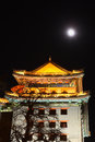 Beijing watchtower in night the near the jianguomen street the Stock Photography