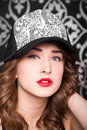 Being cool portrait of a beautigul girl wearing a hat Royalty Free Stock Photography