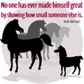 Being great an illustration showing big horses talking about a small horse a quote by irvin himmel no one has ever made himself Royalty Free Stock Photography