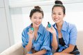 Being manicured portrait of girlfriends after nail polishing process Royalty Free Stock Image