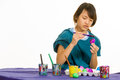 Being painted eggs for easter basket Stock Photography