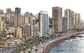 Beirut skyline on a white background the famous seaside boulevard corniche seen here with Stock Images