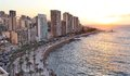 Beirut at sunset s famous mediterranean seaside corniche seen here Royalty Free Stock Photos
