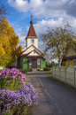 Belarus borisov old belief orthodox pokrovskaja church indian summer sunny day ancient among flowers and the turned yellow trees Stock Photos