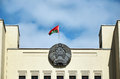 Belarus. Flag and coat of arms of Belarus on the building of the Government House in Minsk. May 21, 2017