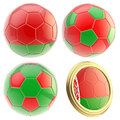 Belarus football team attributes isolated set of four soccer ball on white Royalty Free Stock Images