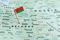 Belarus map flag pin Royalty Free Stock Photo